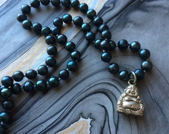 Hand-knotted Freshwater Pearl Necklace with Silver Buddha Charm