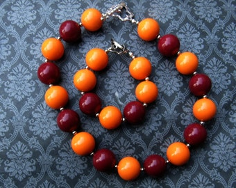 Burgandy and Orange Girls Necklace and Bracelet