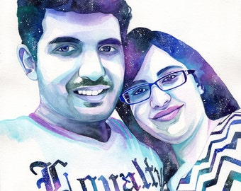 CUSTOM COUPLE PORTRAIT with galaxy, special gift, for girlfriend, for boyfriend, for her, for him, custom gift, girlfriend gift, with stars