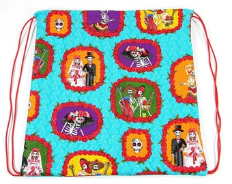 Day of the Dead drawstring tote (Handmade in the United States)