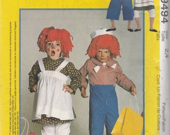 McCall's 9494 Size 2-4, 32 1/2-34, 36-38 or 40-42 Misses', Men's, Boys', Girls' Raggedy Ann and Andy Costumes Sewing Pattern 1998 Uncut