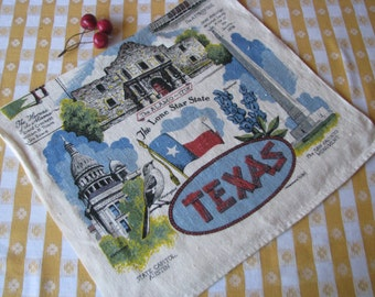 Kay Dee Dish Towel - Texas - Lone Star State -100% Linen -  Vintage 1960's