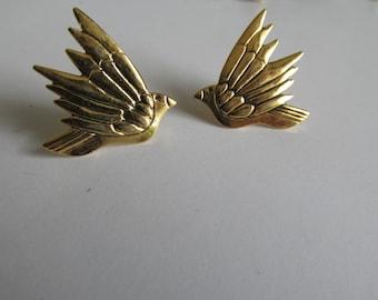 Bird Earrings Studs Gold Dove Earrings Birds in Flight Designer Earrings