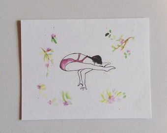 Yoga Card-hand drawn copy-watercolor/ink/banana paper