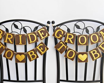SALE, FREE SHIPPING, Bride To Be & Groom To Be chair signs, Bridal shower banners, Engagement party decor, Bachelorette party decorations