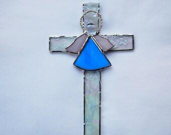 Cross Overlaid with Blue Angel