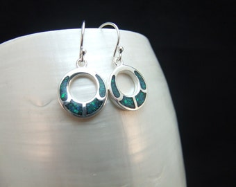 Green Blue Opal Silver Drop Earrings