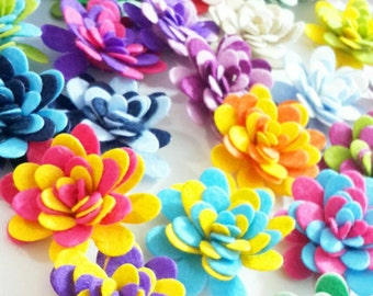 Felt Flowers, Two Color  Rolled Mum Set, 10 Pieces, Felt Die Cut Flowers, For Easter Projects