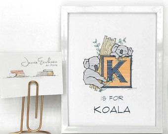 K is for Koala Letter K Art - Koala Illustration - 8x8 and 8x10