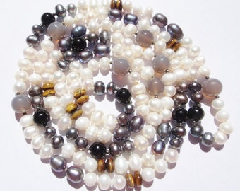 Large Freshwater Pearls Tigers Eye and Grey agate Beads 57 inches Long