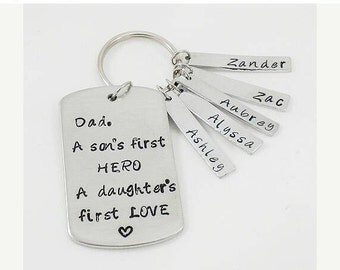 ON SALE Dad's Keychain Gift, A Sons first hero, A Daughters first love, Father's Day Gift