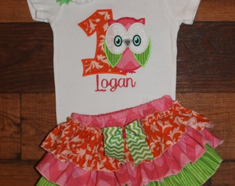 Owl Birthday Ruffled Bloomers Outfit