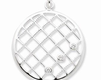 Sterling Silver White CZ Woven Pendant
