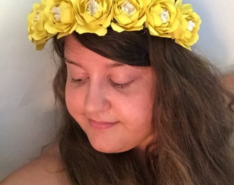 Paper Flower Yellow Peony Flower Crown