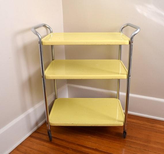 mid century bar cart retro chrome yellow cosco cart kitchen cart