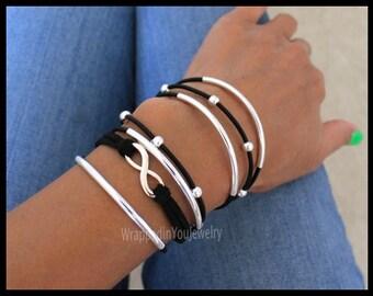 Boho Leather Wrap Bracelet - Adjustable Cascading 6X Wrap Leather Beaded Tube Bohemian Stackable Bangle Bracelet - COLOR / SIZE - USA 1222