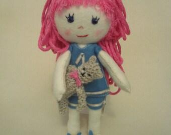 Felt Doll, Katie, Girl's Felt Doll, Pink Doll, Handmade Felt Doll