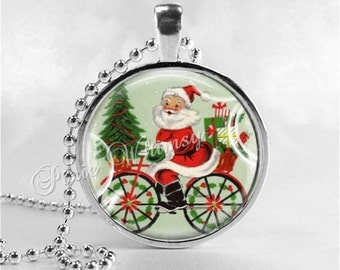 SANTA CLAUS Necklace, Retro Christmas, Bicycle Necklace, Santa on Bike, Santa Claus, Christmas Necklace, Christmas Jewelry, Christmas Kitsch