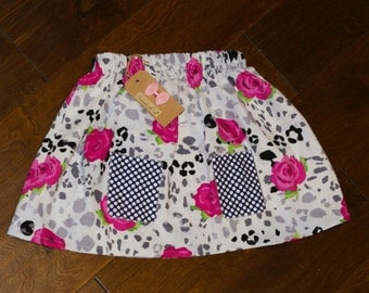 Toddler Skirt - Rosey Posey (w/faux pockets) - 4T