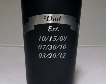 Dad Established Black Stainless Steel Beer Glass, Fathers day gift, Dad day gift, Dad gift, Beer Glass, Stainless Steel glass, Dad birthday