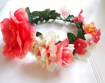 CORAL Flower Crown, Floral Crown, Hair Wreath, Summer Flower Crown