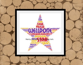 Personalised Star Print, Star Word Art, Star Word Cloud, Well Done Gift, Congratulations Gift, Graduation Gift, Personalised Word Collage.