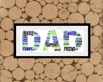 Dad Word Art, Personalised Dad Print, Dad Word Cloud, Dad Word Collage, Dad Wordle, Daddy Word Art, Daddy Print, Fathers Day Gift For Dad.