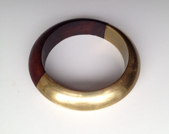 vintage wood bangle / chunky wood bracelet / bangle bracelet