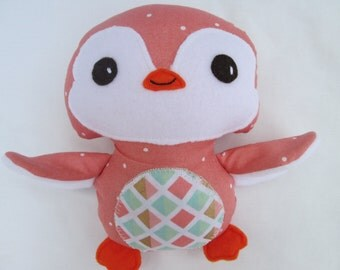 Penguin Softie, Pink and Gold Geometric, Baby toy, stuffed penguin, Made to Order