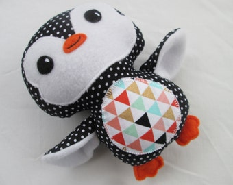 Penguin Softie, 7 inch, Geometric Gold, Rose, Mint, and Black Polka Dots- Ready to Ship, penguin stuffed animal
