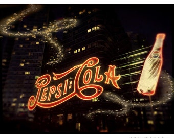 Pepsi-Cola, Sign, Vintage, NIght, Queens,Photography, Long Island City, LIC, Neon, FREE SHIPPING!