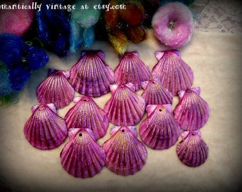 Seashells, Pink, Summer, Gold Shimmer, Drilled, Beach Decor, Crafts, Nautical, Jewelry, Photo Props, Displays, Ocean, Nature, Victorian