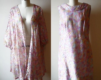 1960s rainbow dress // dress set // vintage dress