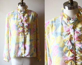 1960s sheer floral ruffle blouse // 1960s floral top // 1960s blouse