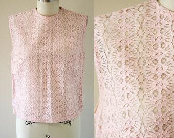 1960s pink daisy tank top // cotton eyelet tank top // 1960s blouse