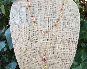 Exotic Red Jade Layered Necklace