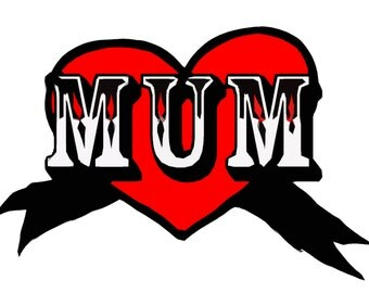 Mum Tattoo Heart Illustrated Greetings Card Mother's Day