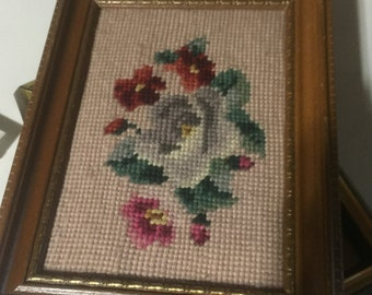 Vintage Floral Needlepoint Small