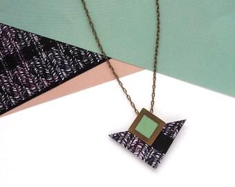 Black Triangle Geometric Necklace - Printed Laser Cut Wood - Geometric Jewellery - Triangle Jewellery - Monochrome Necklace - Modern