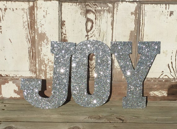 Silver Letters Wall Decor : Silver joy sign glitter wall letters holiday