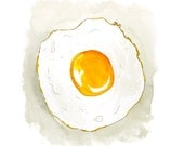 Fried Egg Sunny Side Up Kitchen Watercolor Art Print 9x12