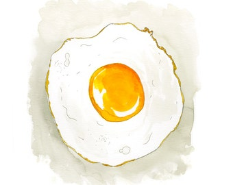 Fried Egg Sunny Side Up Watercolor Art Print