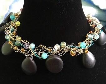 Black Turquoise Crochet Necklace
