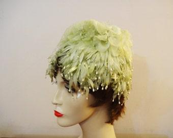 Vintage 1960's Pistachio Green Floral Beehive Hat - Floral Bucket Hat - Pearl Trim - Floral Cloche - Garden Party - Wedding Hat - Easter Hat