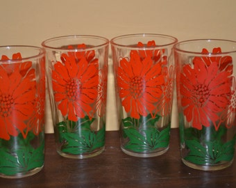 Vintage Swanky Swigs Glasses - Set of 4 - Hazel Atlas - Daisy or Chrysanthemums - Red and Green - Tumblers - Water Glasses