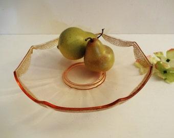 Tiffin Franciscan Rambler Rose Deep Serving Plate/Shallow Bowl - Octagonal - 1930's - Elegant Depression Glass Cake Plate