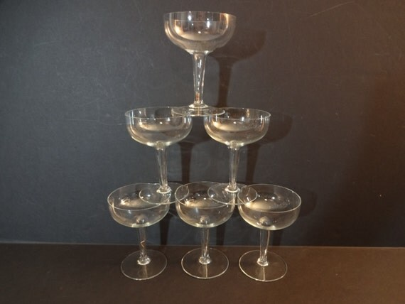 Mid Century Modern Crystal Champagne Coupe Glasses Set Of 6
