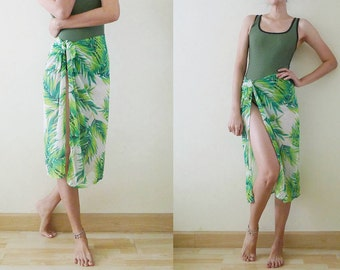 VTG Hipster Green Palm Leaf printed swimsuit cover up, net sheer beach wrap sarong skirt, Pool wear, Pareo, beach cover up, Free Size