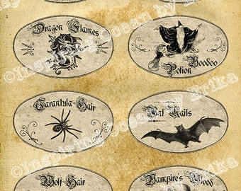 Witch apothecary printable bottle labels