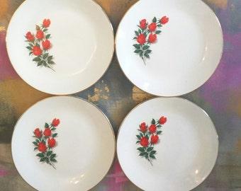 Vintage China Plates / Dessert Salad  Plates / Wedding Decor / Vintage Wedding